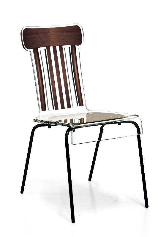 Chaise acrylique bistrot pieds m tal marron acrila for Chaise en acrylique