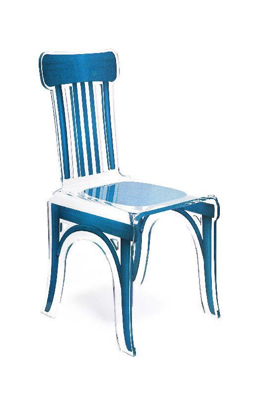 chaise acrylique bistrot pieds plexi bleu acrila. Black Bedroom Furniture Sets. Home Design Ideas