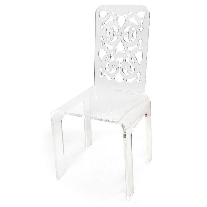 chaise acrylique grand soir dentelle blanche acrila. Black Bedroom Furniture Sets. Home Design Ideas