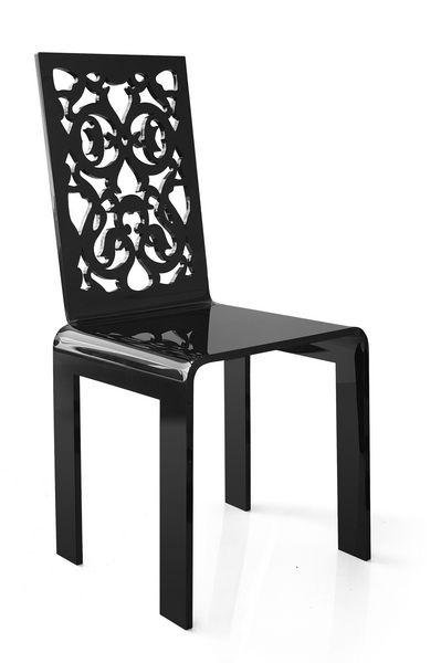 Chaise acrylique grand soir dentelle noire acrila for Chaise en acrylique
