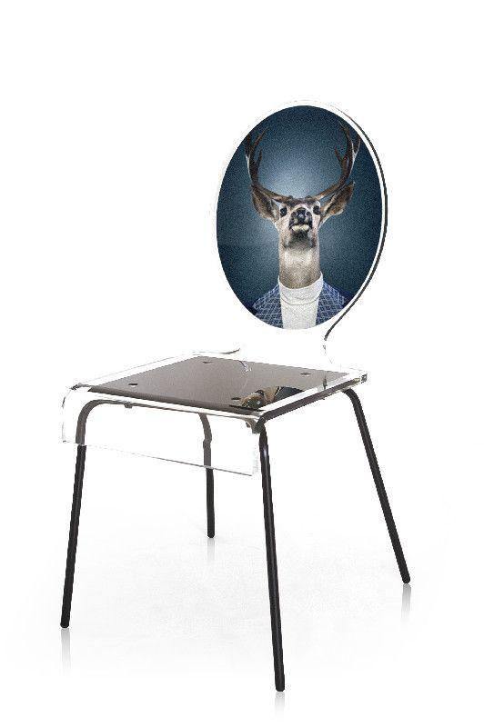 chaise acrylique graph pieds m tal cerf acrila. Black Bedroom Furniture Sets. Home Design Ideas