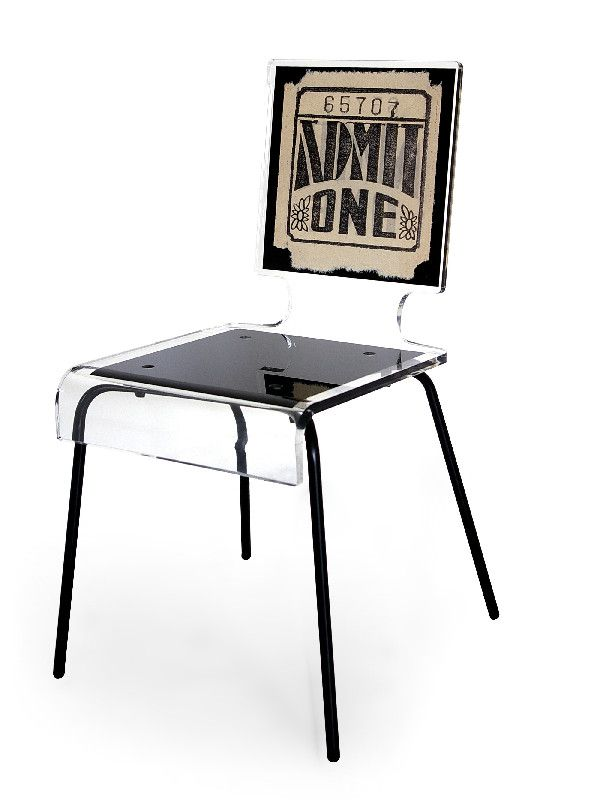 Chaise acrylique graph pieds m tal ticket acrila for Chaise en acrylique