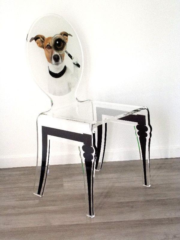 chaise acrylique graph pieds plexi chien acrila