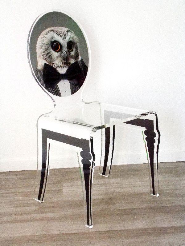 Chaise acrylique graph pieds plexi hibou acrila for Chaise en acrylique