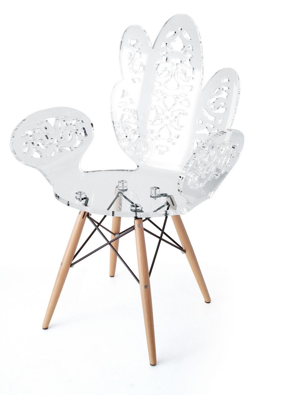 chaise acrylique love dentelle blanche acrila