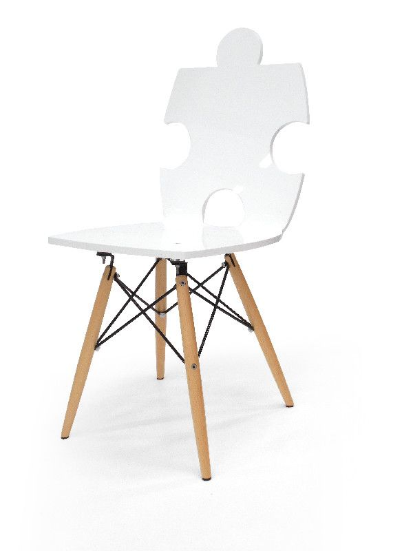 acrylique puzzle pieds bois blanche - acrila - Chaise Blanche Pied En Bois