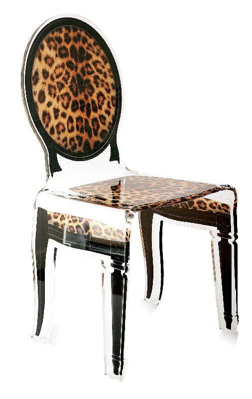Chaise acrylique sixteen pied de poule l opard acrila for Chaise en acrylique
