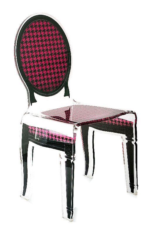 Chaise acrylique sixteen pied de poule rose acrila for Chaise en acrylique