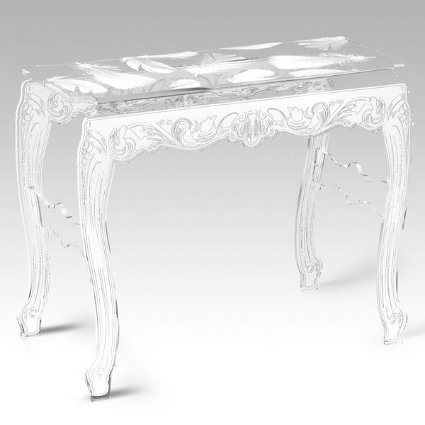 Console acrylique plume blanche mobilier - Console en plexiglas ...