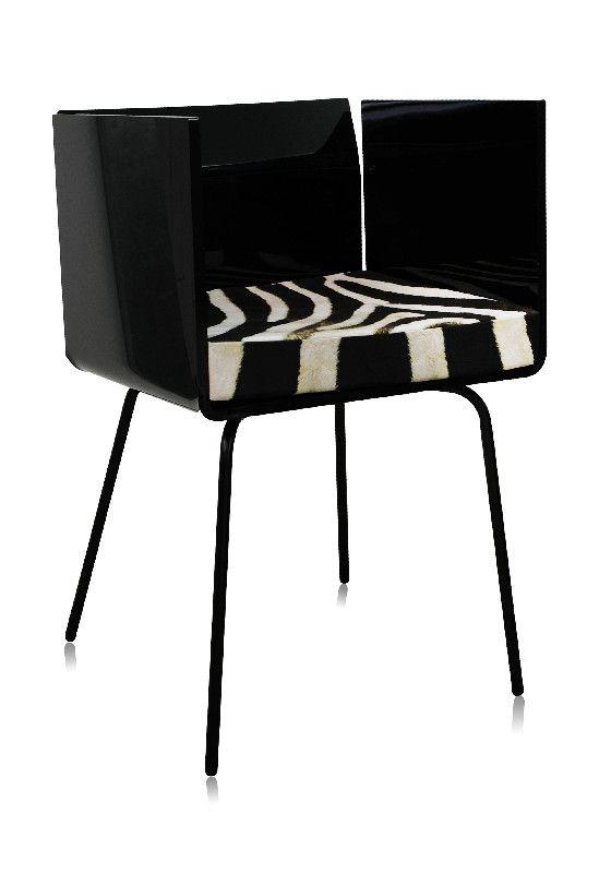 Fauteuil acrylique cali noir coussin z bre acrila - Fauteuil zebre ...
