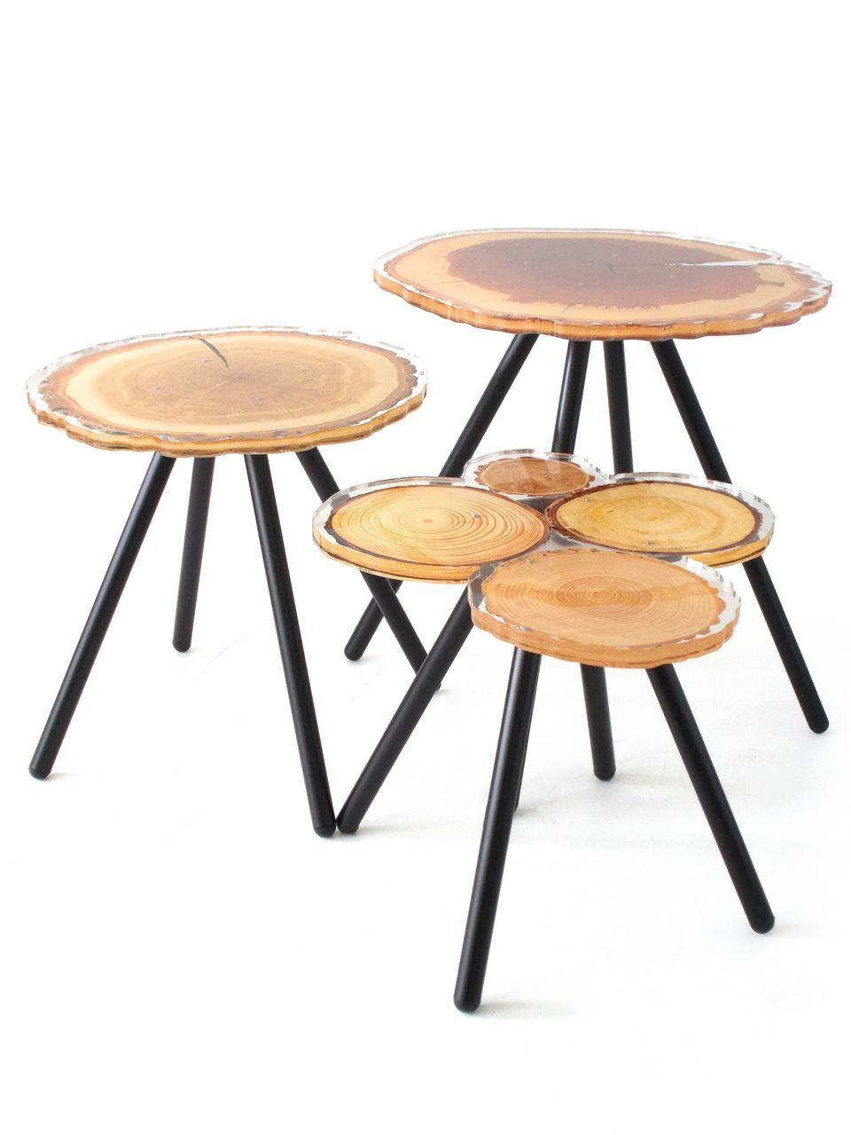 Rondin De Bois Table De Chevet table acrylique quebec rondins de bois