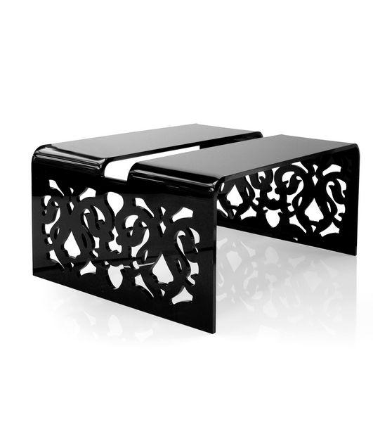Table basse acrylique grand soir dentelle noire acrila - Table basse acrylique ...