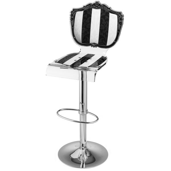 tabouret de bar r glable baroque ray noir blanc acrila mobilier decotaime. Black Bedroom Furniture Sets. Home Design Ideas