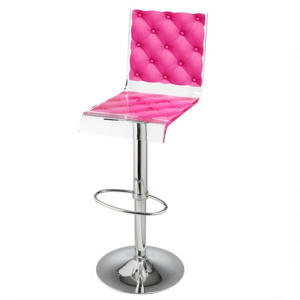 tabouret de bar r glable capiton rose acrila mobilier decotaime. Black Bedroom Furniture Sets. Home Design Ideas