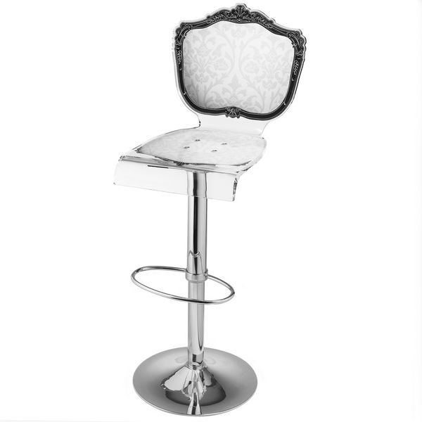 Tabouret De Bar Reglable Acrylique Baroque Blanc