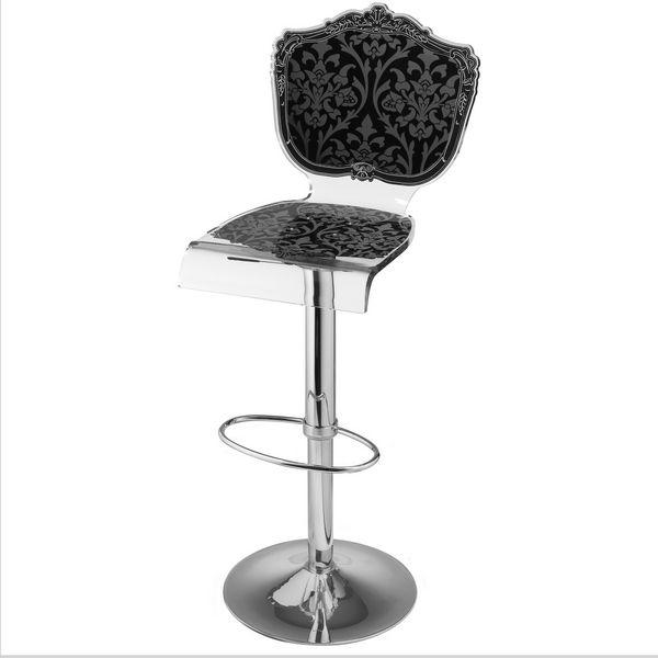 Tabouret de bar r glable acrylique baroque noir mobilier - Tabouret de bar style baroque ...