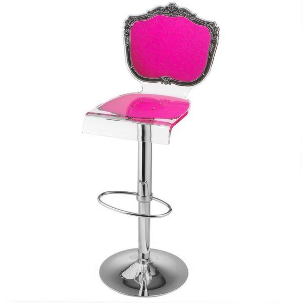 tabouret de bar r glable acrylique baroque rose mobilier. Black Bedroom Furniture Sets. Home Design Ideas