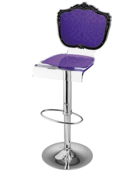tabouret de bar r glable acrylique baroque violet acrila. Black Bedroom Furniture Sets. Home Design Ideas