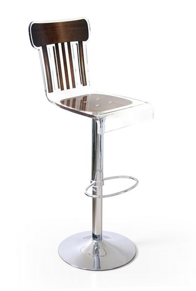 tabouret de bar r glable acrylique bistrot bois marron. Black Bedroom Furniture Sets. Home Design Ideas
