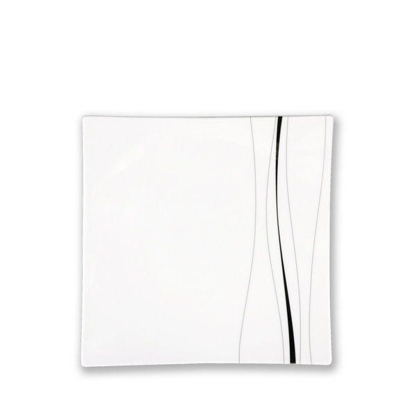 assiette plate carr e porcelaine odett platine art de la table. Black Bedroom Furniture Sets. Home Design Ideas