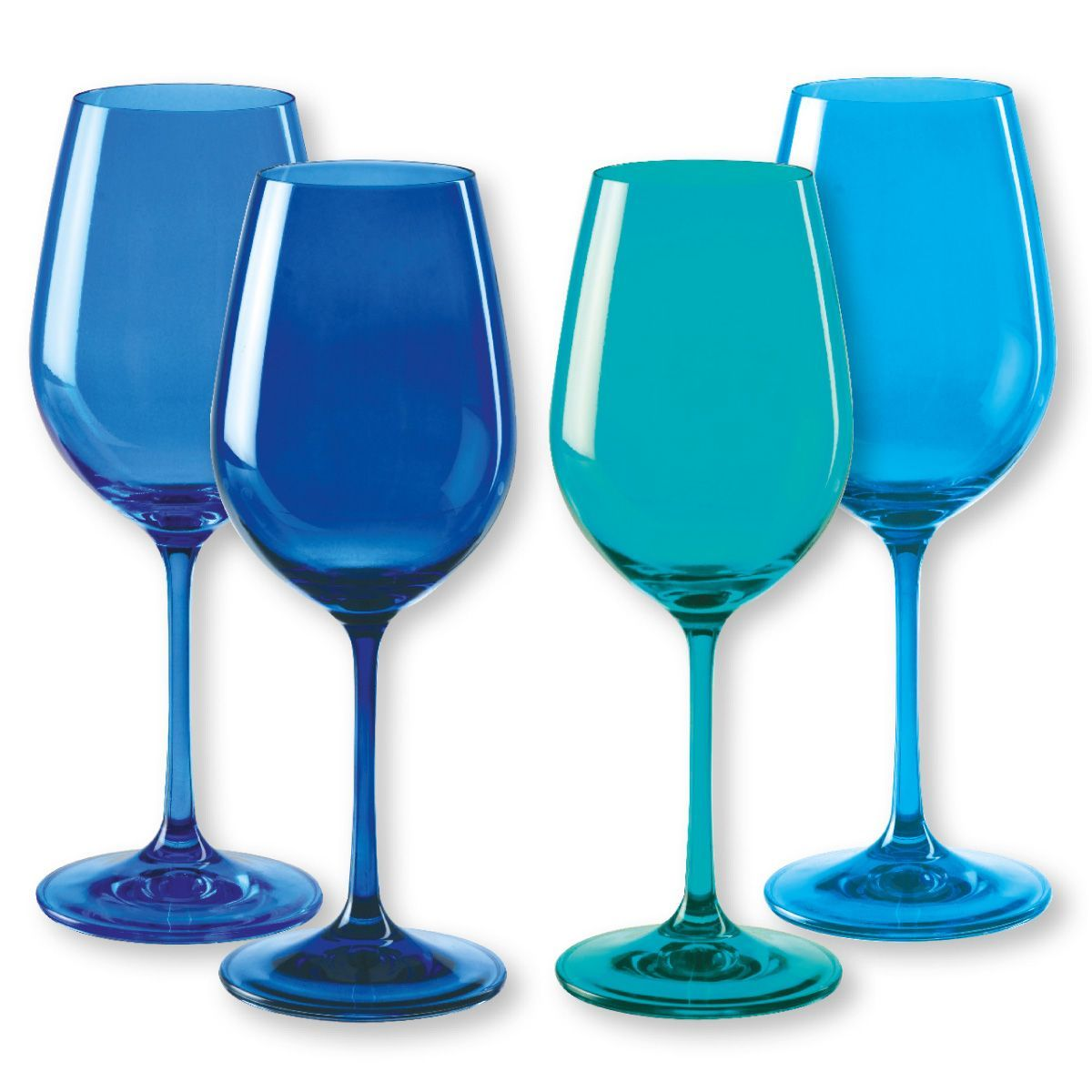 bo te de 4 verres vin cristallin kador bleu cm. Black Bedroom Furniture Sets. Home Design Ideas