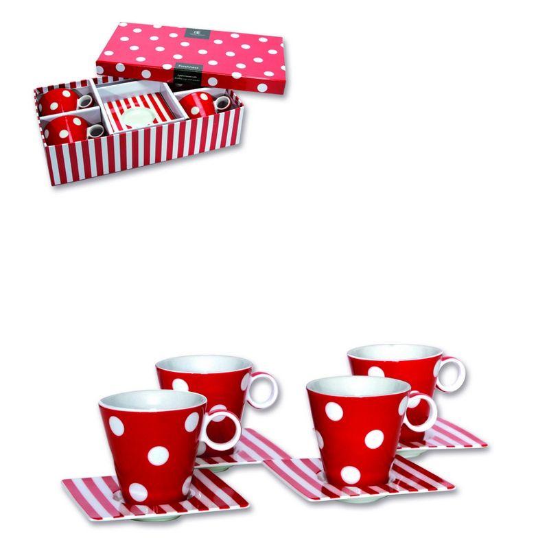 tasses caf en porcelaine freshness rouge 13 cl set de 4. Black Bedroom Furniture Sets. Home Design Ideas