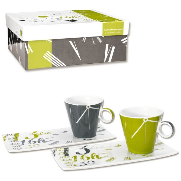 tasses caf gourmand clock vert set de 2 art de la table. Black Bedroom Furniture Sets. Home Design Ideas