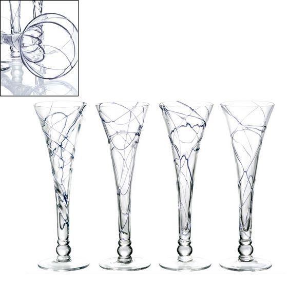 Verres fl te design spider violet set de 4 bruno evrard cr ation - Flute a champagne design ...
