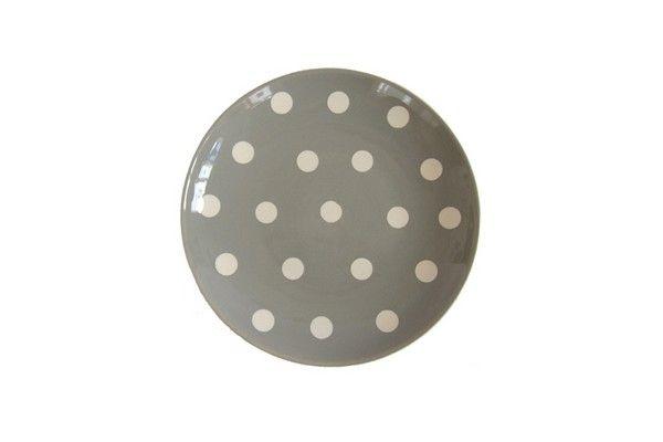 assiette dessert mixte ronde gros pois gris fa ence. Black Bedroom Furniture Sets. Home Design Ideas