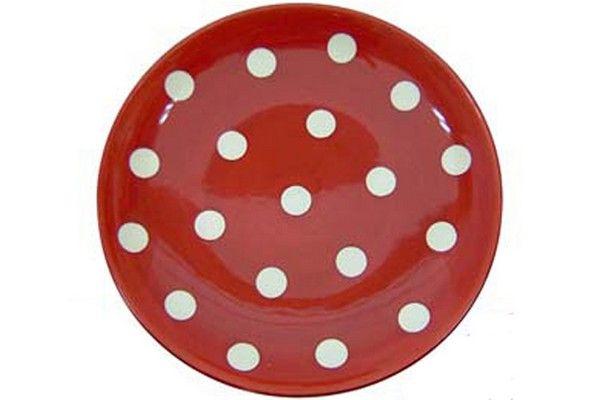 assiette plate ronde gros pois rouge fa ence art de la. Black Bedroom Furniture Sets. Home Design Ideas