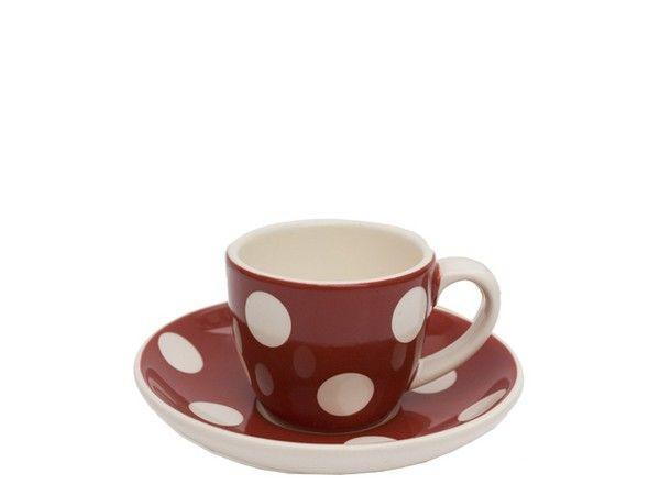 tasse caf fa ence soucoupe rouge gros pois. Black Bedroom Furniture Sets. Home Design Ideas