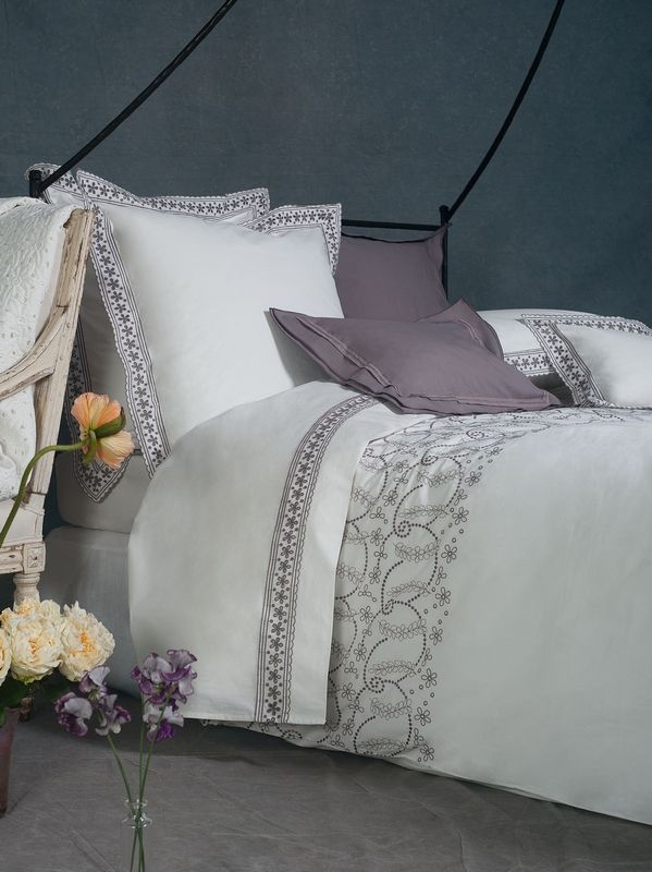 housse de couette percale marguerite ivoire 140x200 linge de maison. Black Bedroom Furniture Sets. Home Design Ideas