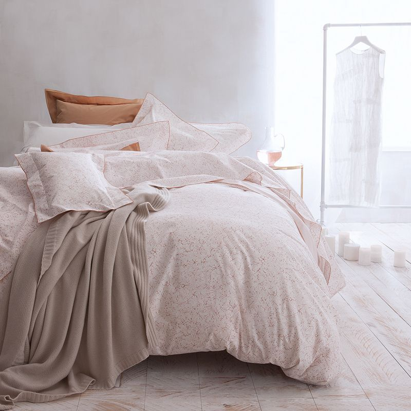 taie d 39 oreiller fugue terracotta percale 50x75 linge de maison. Black Bedroom Furniture Sets. Home Design Ideas