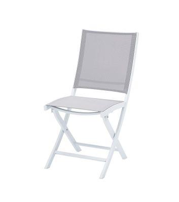 Chaise De Jardin Aluminium Et Textilene Blanc Gris Clair Whitestar