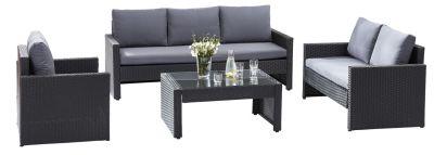 ensemble salon de jardin confort sofa 3 places 2 fauteuils et 1 table - Ensemble Salon De Jardin