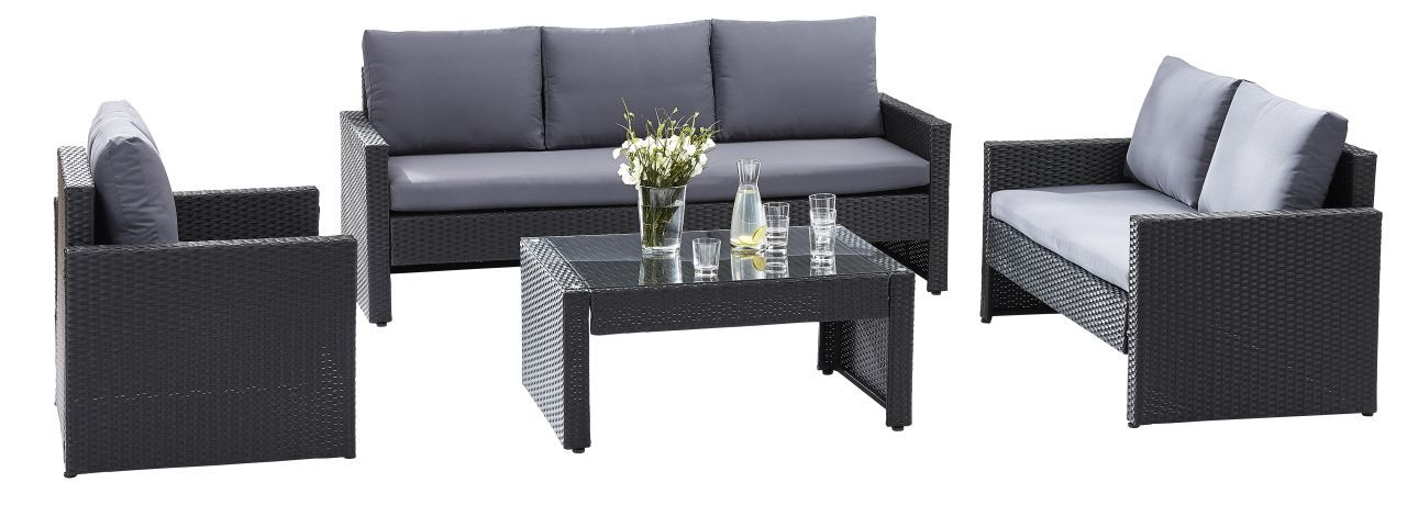 Ensemble salon de jardin Confort sofa 3 places 2 fauteuils et 1 table