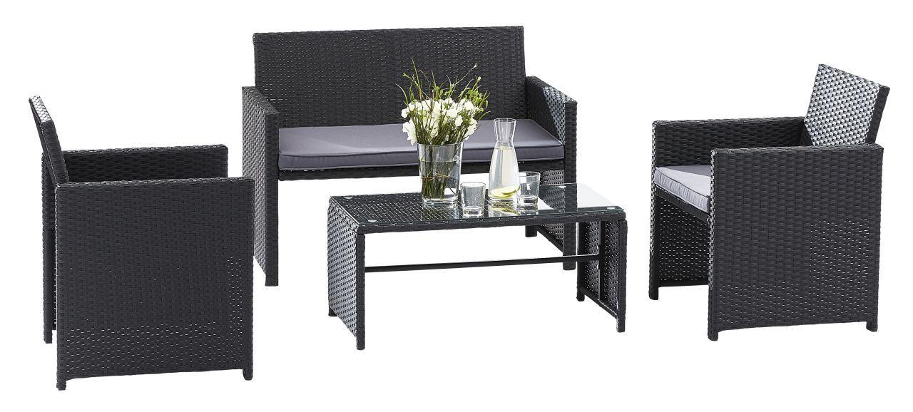 Ensemble salon de jardin lounge sofa 2 places 2 fauteuils for Salon jardin 2 places