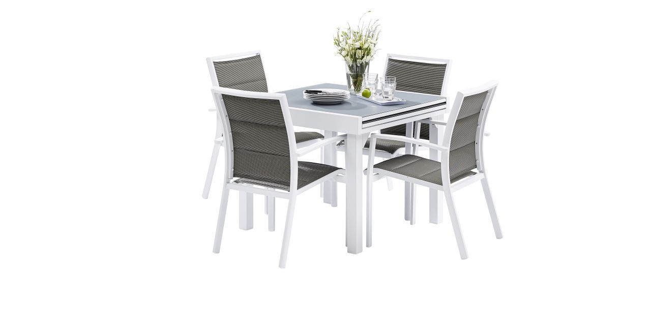 Ensemble salon de jardin modulo 4 places blanc gris perle for Ensemble salon blanc