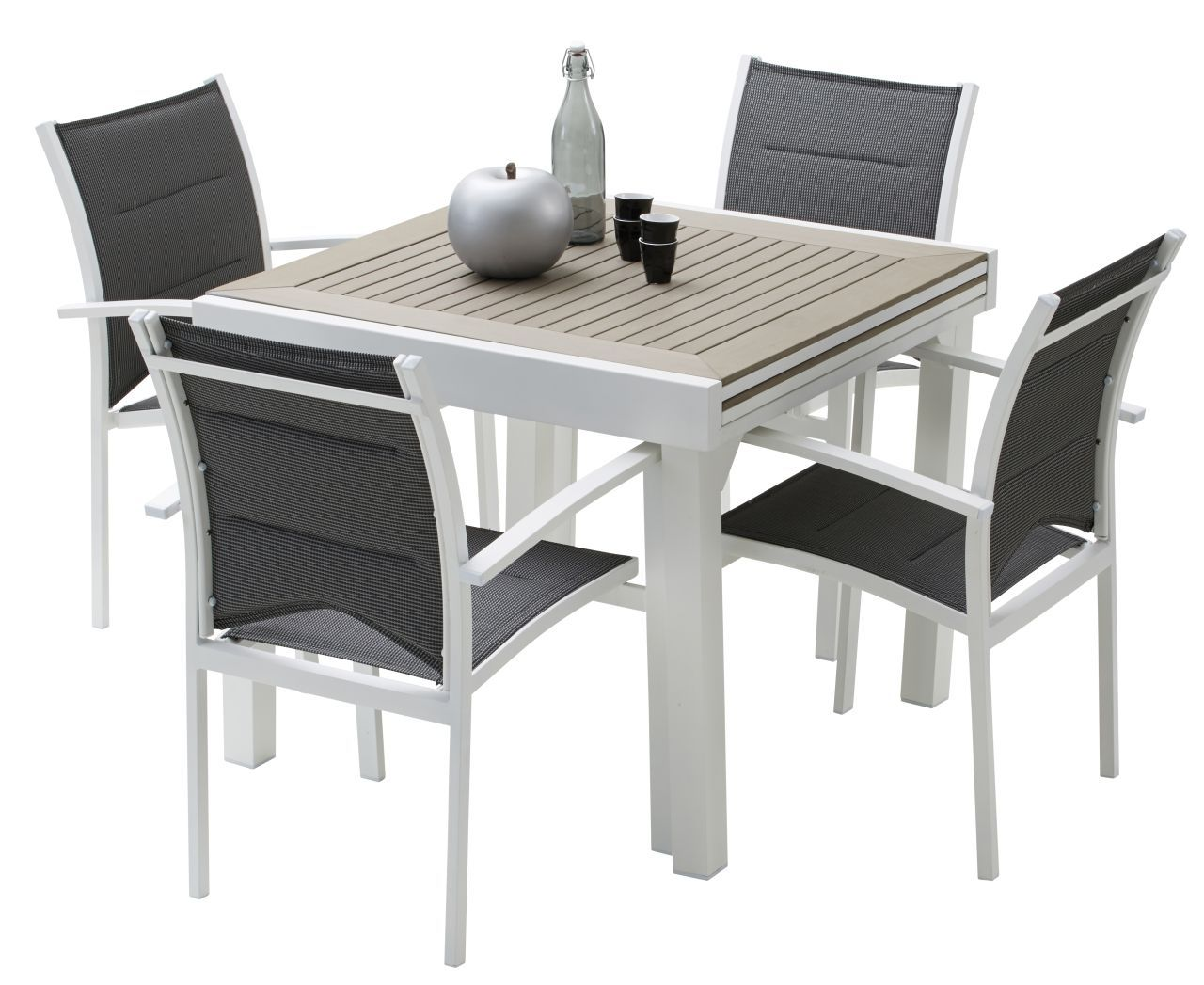 Ensemble salon de jardin modulo 4 places places polywood - Table de jardin extensible plateau verre ...