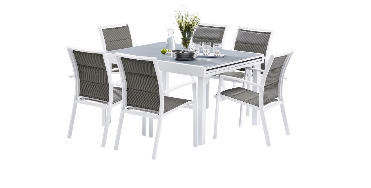 Ensemble salon de jardin modulo 6 places blanc gris perle for Ensemble salon gris