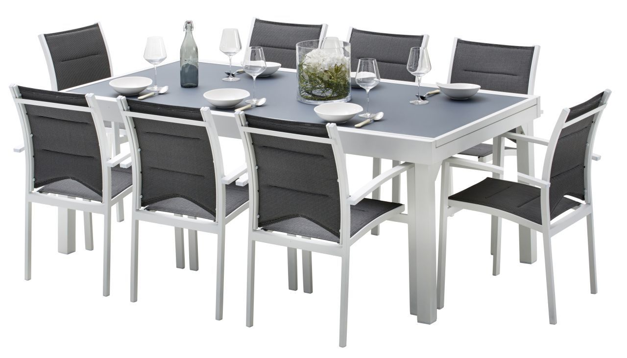 Ensemble salon de jardin modulo 8 places blanc gris perle for Ensemble salon blanc