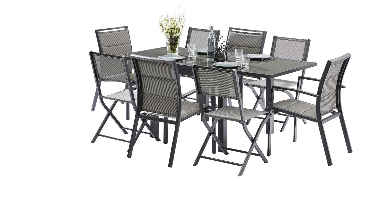 Ensemble salon de jardin modulotex gris 4 8 places wilsa for Ensemble salon gris