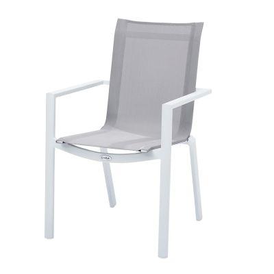 fauteuil de jardin aluminium et textil ne blanc gris clair whitestar. Black Bedroom Furniture Sets. Home Design Ideas