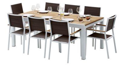 Salon de jardin Bali teck/blanc table 8/12 places + 8 fauteuils
