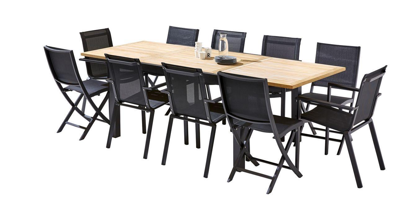 Salon de jardin Bali teck/noir Table 6/10 places 6 fauteuils 4 chaises
