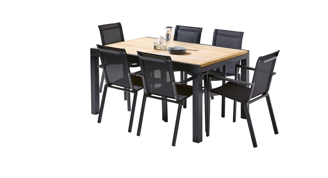 salon de jardin bali teck noir table 6 10 places 6 fauteuils. Black Bedroom Furniture Sets. Home Design Ideas