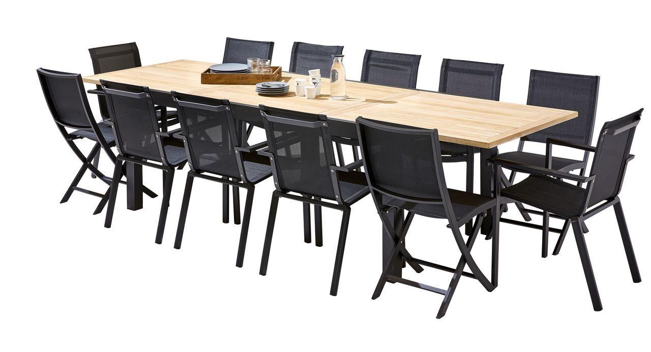 Salon de jardin Bali teck/noir Table 8/12 places 8 fauteuils 4 ...