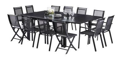 Salon de jardin Blackstar verre noir Table 8/12 pl 8 fauteuils 4 ...