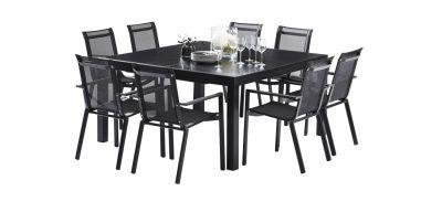 Salon de jardin Blackstar verre noir Table 8/12 places 8 fauteuils ...