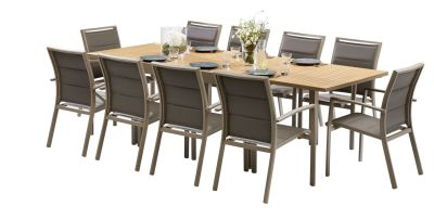 Salon de jardin Modulo Polywood taupe Table 6/10 places 10 fauteuils - Wilsa Garden